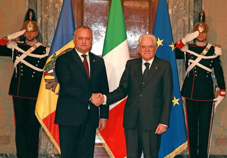 MOLDOVAN PRESIDENT COUNTS ON ITALY'S ASSISTANCE IN TRANSNISTRIAN CONFLICT SETTLEMENT